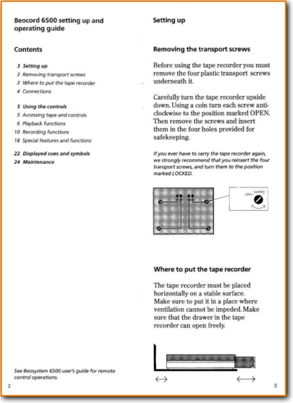 Bang & Olufsen Beocord 6500 C Tape Player - Main User Manual PDF | English