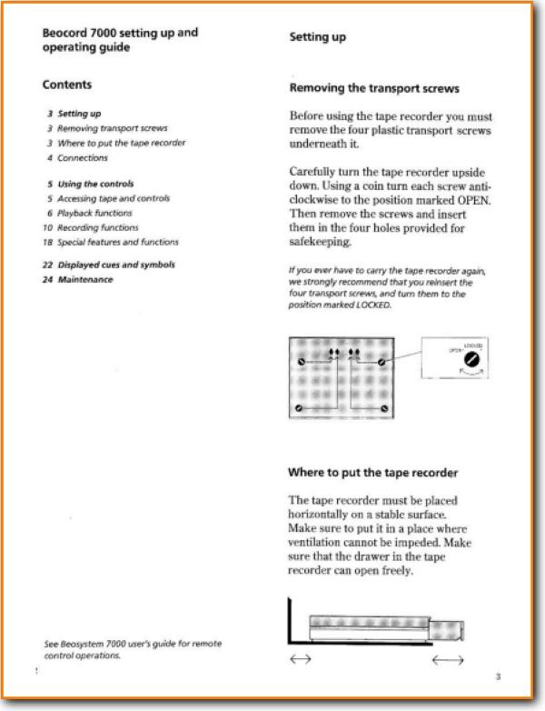Bang & Olufsen Beocord 7000 Tape Player - Main User Manual PDF | English