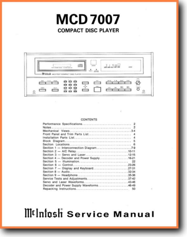 McIntosh MCD-7007 CD Player - On Demand PDF Download | English
