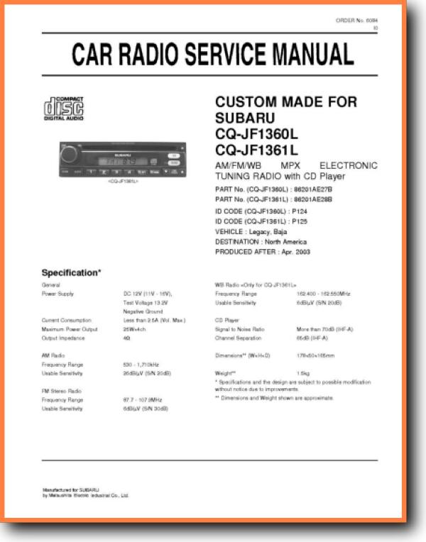 Mitsubishi Audio CQJF-1361-L Automotive Audio Main Technical Manual - PDF &  Tech Help* | English