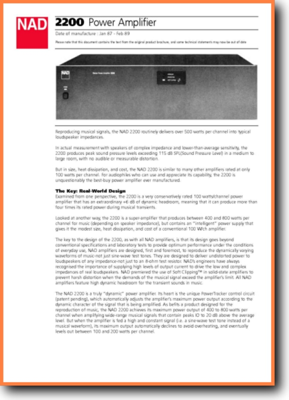 NAD 2200 Solid State Amp Receiver - On Demand PDF Download   English
