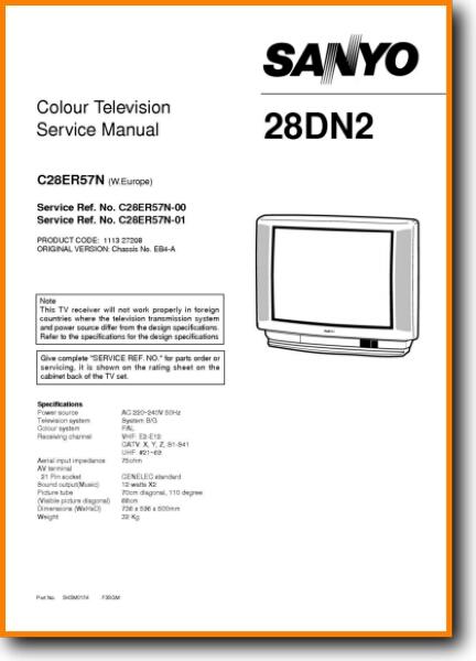 Sanyo C-28-ER-57-N CRT TV - On Demand PDF Download | English