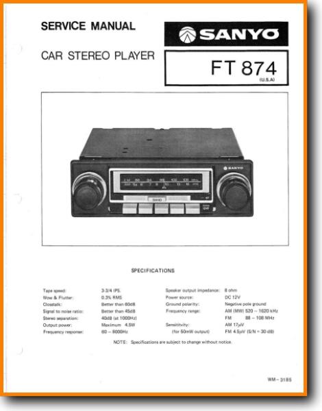 Sanyo FT-874 Automotive Audio - On Demand PDF Download | English