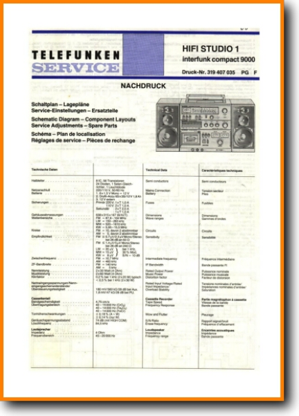Telefunken HIFI-STUDIO-1 Mini Shelf System - On Demand PDF Download |  English