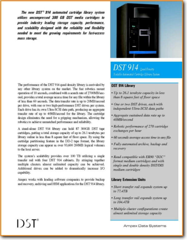 Ampex DST-914 See Literature Main Brochure - PDF & Tech Help* | English