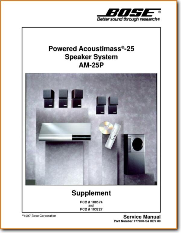 Bose Acoustim 25-P Loudspeaker - On Demand PDF Download | English on