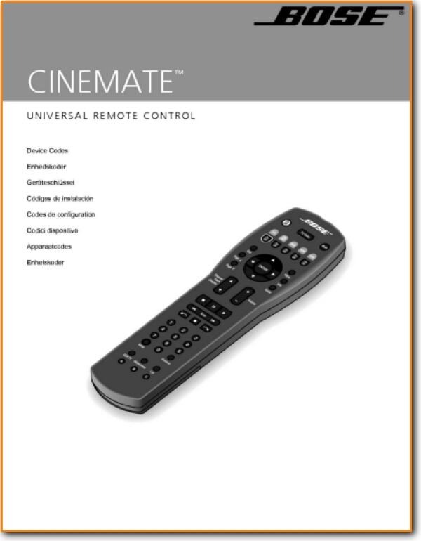 Bose Cinemate Remote Control On Demand Pdf Download English