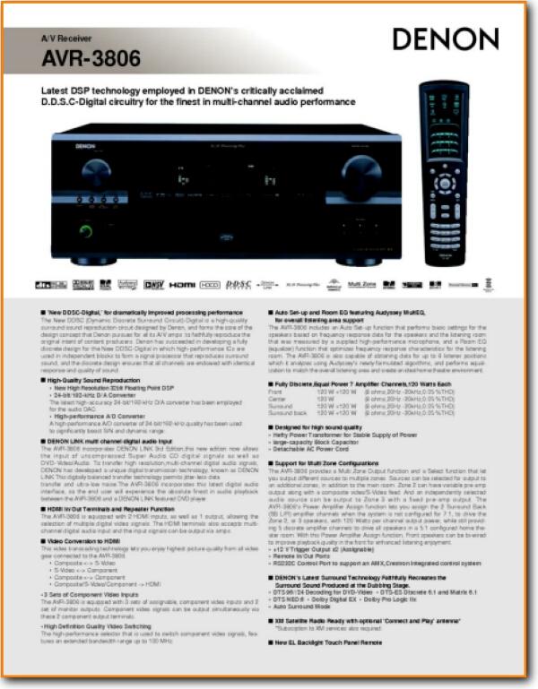 Denon avr 3806 manual de servicio