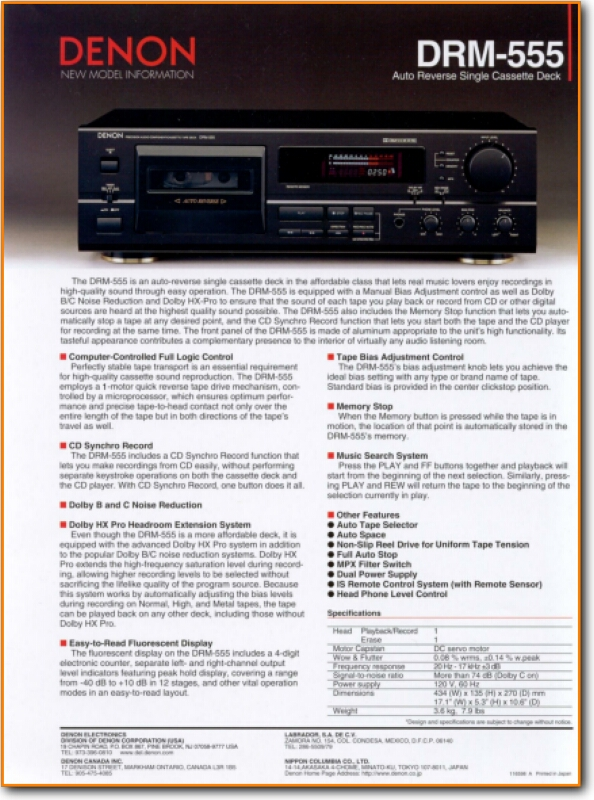 Denon DRM-555 Tape Player - On Demand PDF Download | English