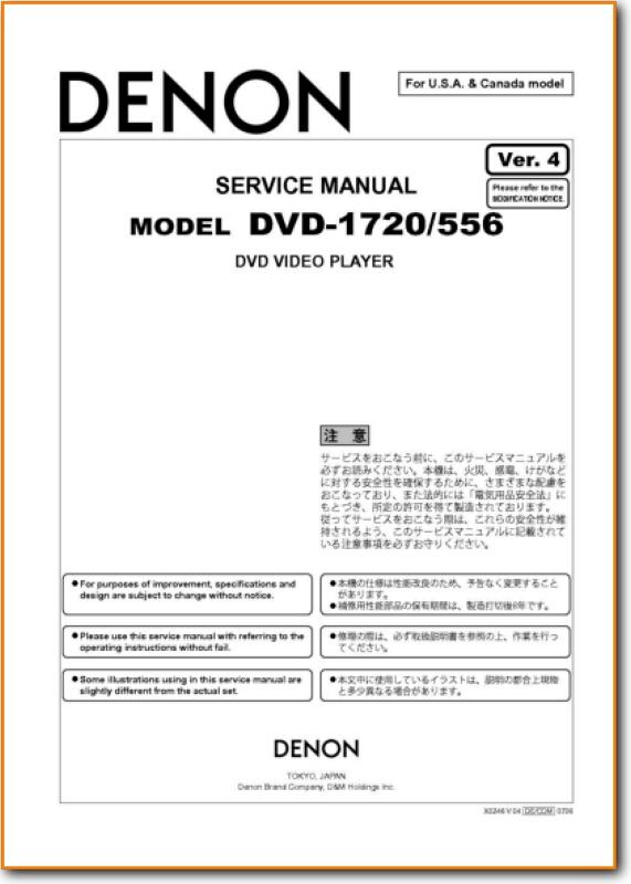 Denon DVD-1720 DVD Player Addendum - C Technical Manual - PDF & Tech Help*  | English