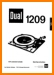 Dual 1209 Turntable Record Player Main User Book - PDF & Tech Help* | English