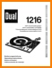 Dual 1216 Turntable Record Player Main User Book - PDF & Tech Help* | English