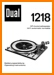 Dual 1218 Turntable Record Player Main User Book - PDF & Tech Help* | English
