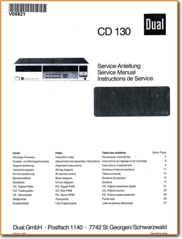 Dual CD-130 CD Player Main Technical Manual - PDF & Tech Help* | English