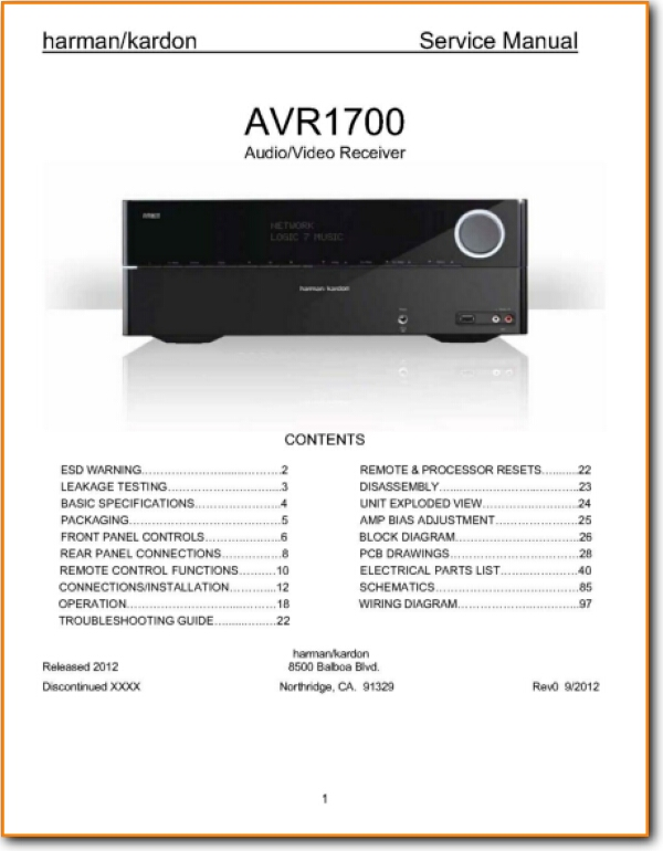 Harmon Kardon AVR-1700 Amp Receiver Main Technical Manual - PDF & Tech  Help* | English