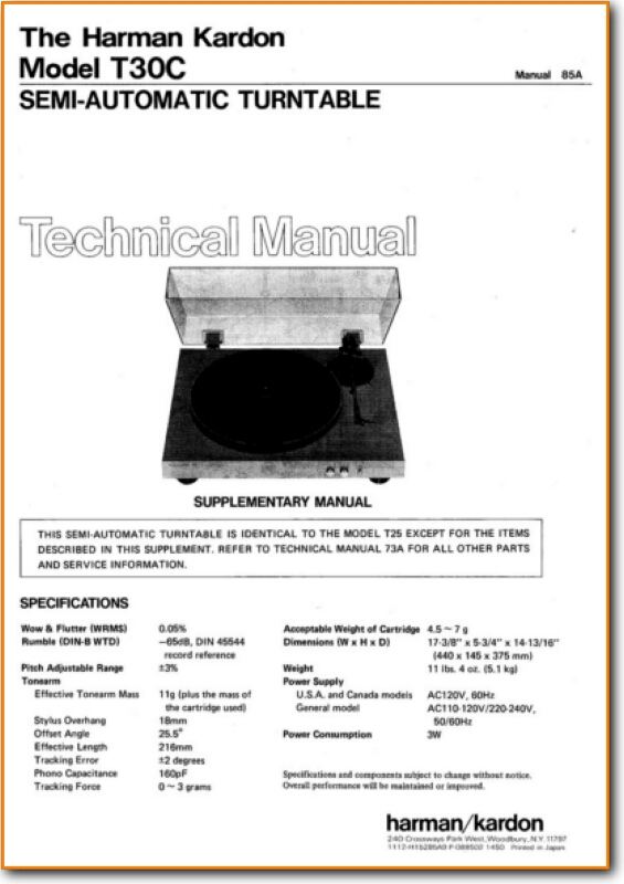 Harmon Kardon T-30-C Turntable Record Player - On Demand PDF Download |  English