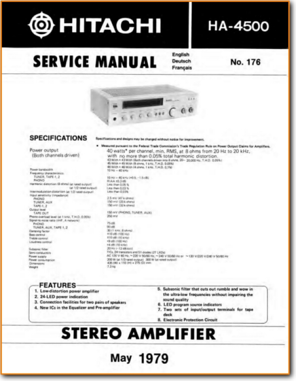 Hitachi Ha 4500 Solid State Amp Receiver On Demand Pdf