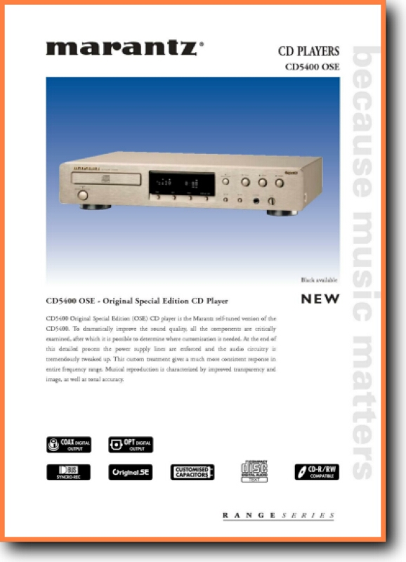 Marantz Cd 5400 Ose Cd Player On Demand Pdf Download English