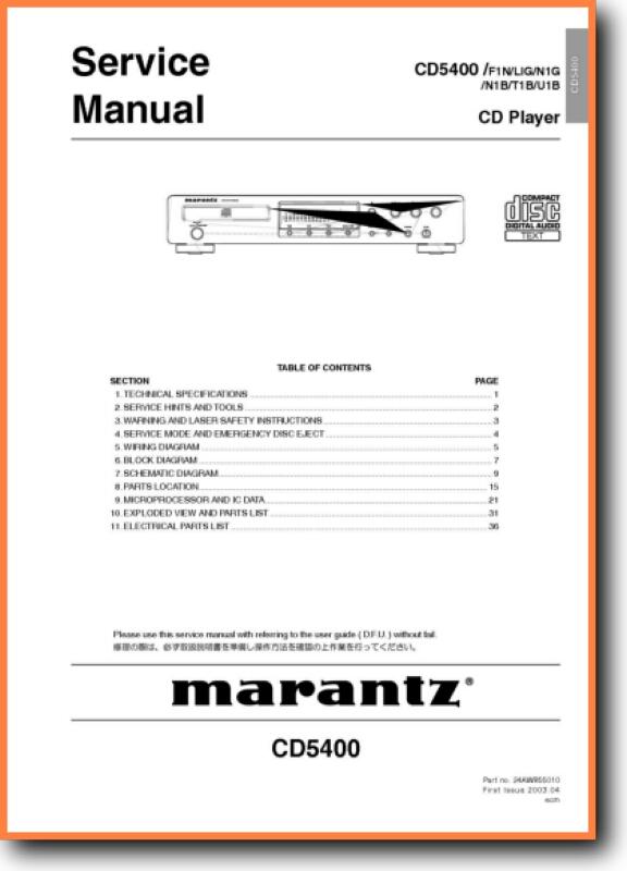 Marantz Cd 5400 Cd Player On Demand Pdf Download English