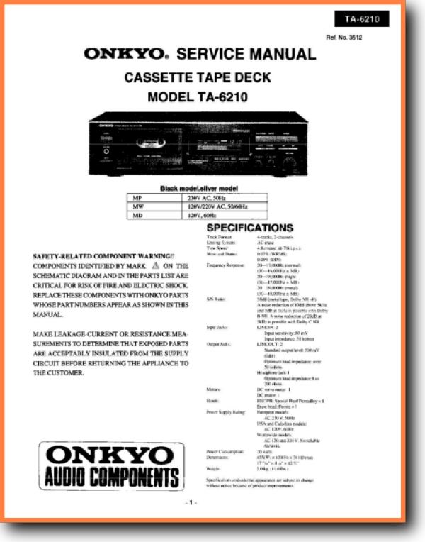 Onkyo TA-6210 Tape Player - On Demand PDF Download | English on