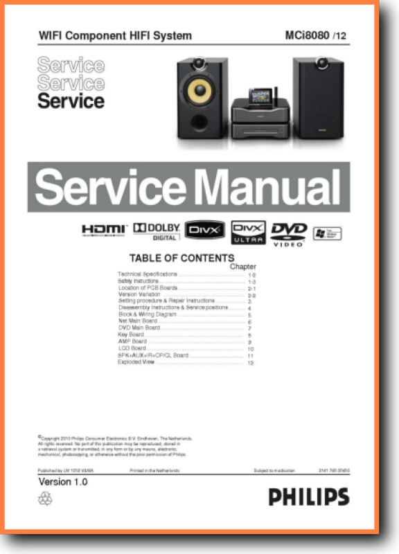 Philips MCI-8080 Mini Shelf System Main Technical Manual - PDF & Tech Help*  | English