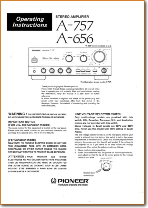 Pioneer A-757 Amp Receiver Main User Book - PDF & Tech Help*   English
