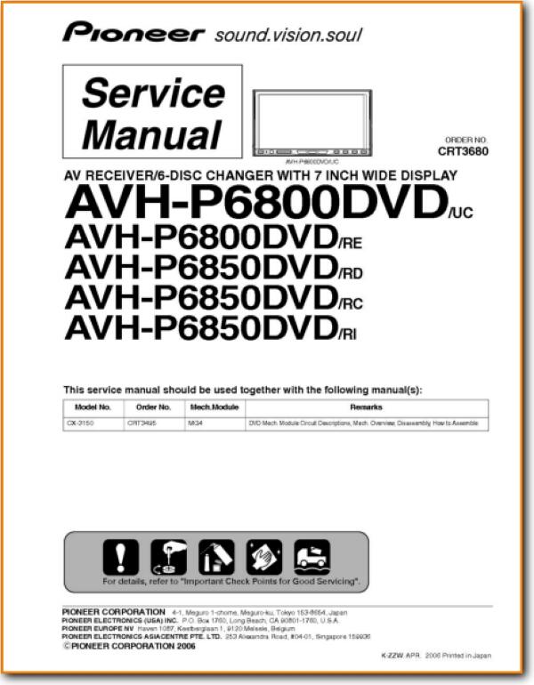 Pioneer AVHP-6850-DVD Automotive Audio - On Demand PDF Download | English