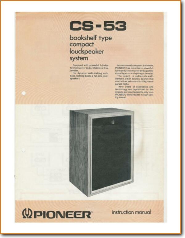 Pioneer CS-53 Loudspeaker - On Demand PDF Download   English