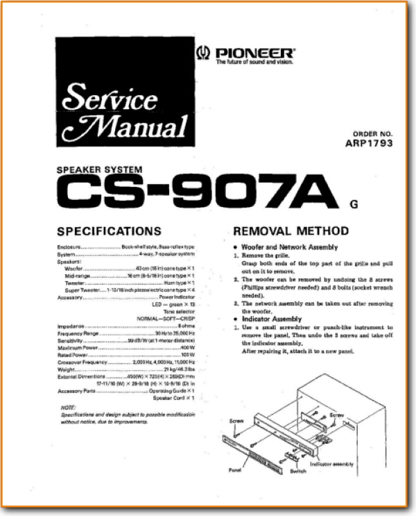 Pioneer CS-907-A Loudspeaker - On Demand PDF Download | English