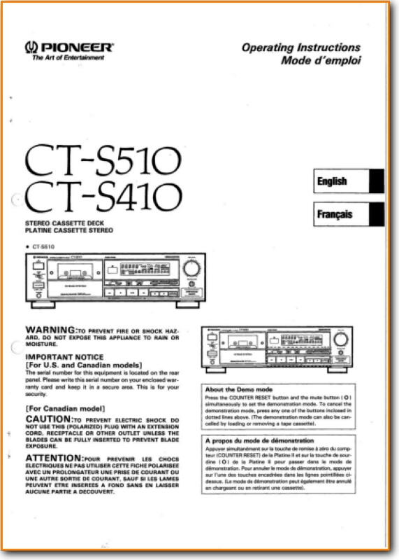 Pioneer CTS-510 Tape Player Main User Book - PDF & Tech Help*   English