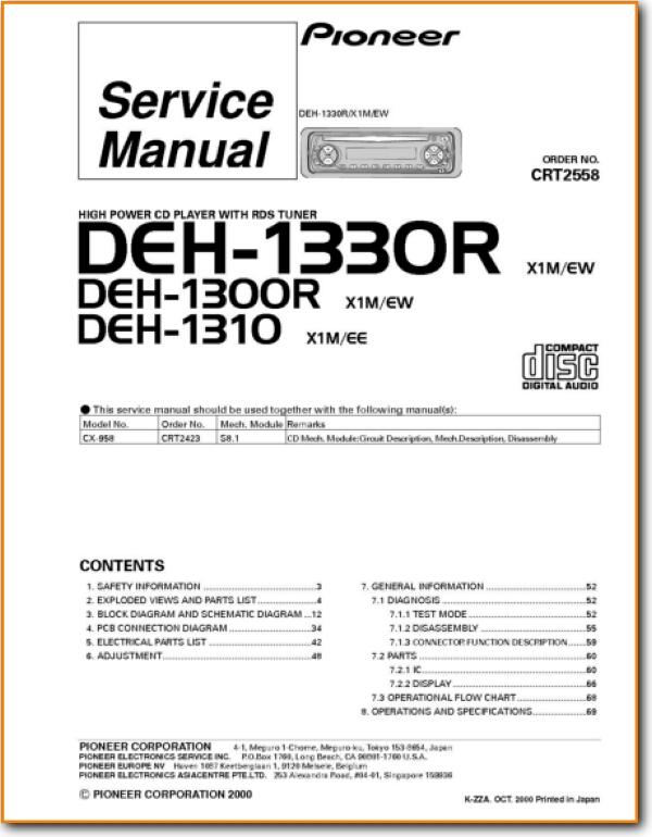 Pioneer DEH-1330-R Automotive Audio Main Technical Manual - PDF & Tech  Help* | English