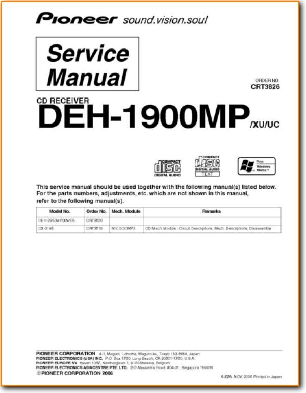 pioneer deh-1900-mp automotive audio - on demand pdf download | english  turntable needles