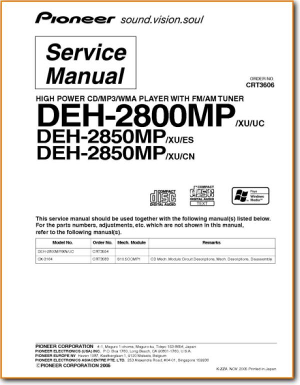 Pioneer DEH-2800-MP Automotive Audio - On Demand PDF Download ...