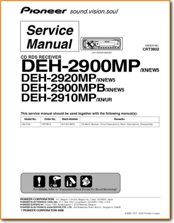 pioneer deh-2900-mp automotive audio - on demand pdf download | english  turntable needles