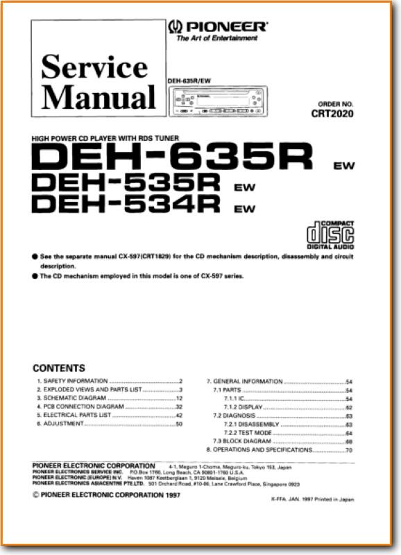 Pioneer DEH-535-R Automotive Audio Main Technical Manual - PDF & Tech Help*  | English