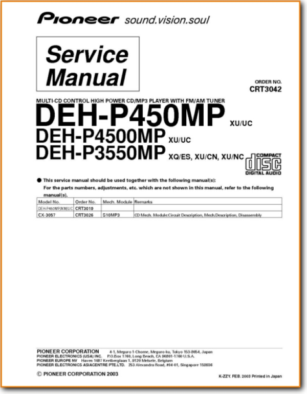 Pioneer DEHP 4500 MP Automotive Audio On Demand PDF Download English AddendumB