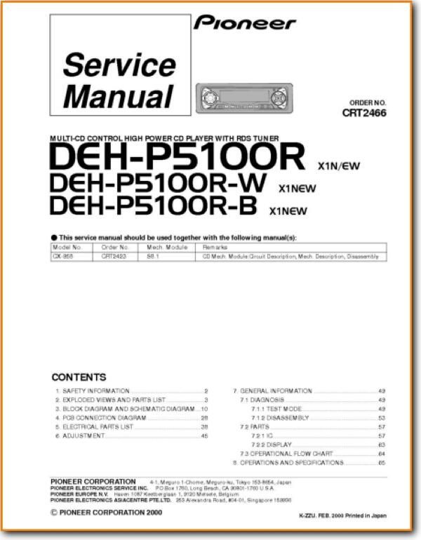 Pioneer DEHP-5100-R Automotive Audio Main Technical Manual - PDF & Tech  Help* | English