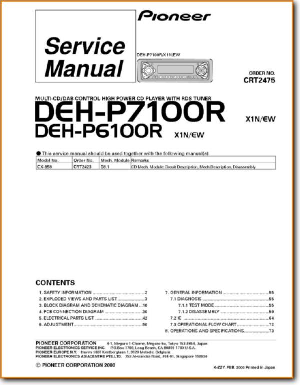 [ZTBE_9966]  Pioneer DEHP-6100-R Automotive Audio Main Technical Manual | Wiring Diagram Pioneer Deh 6100 Installation |  | Turntable Needles