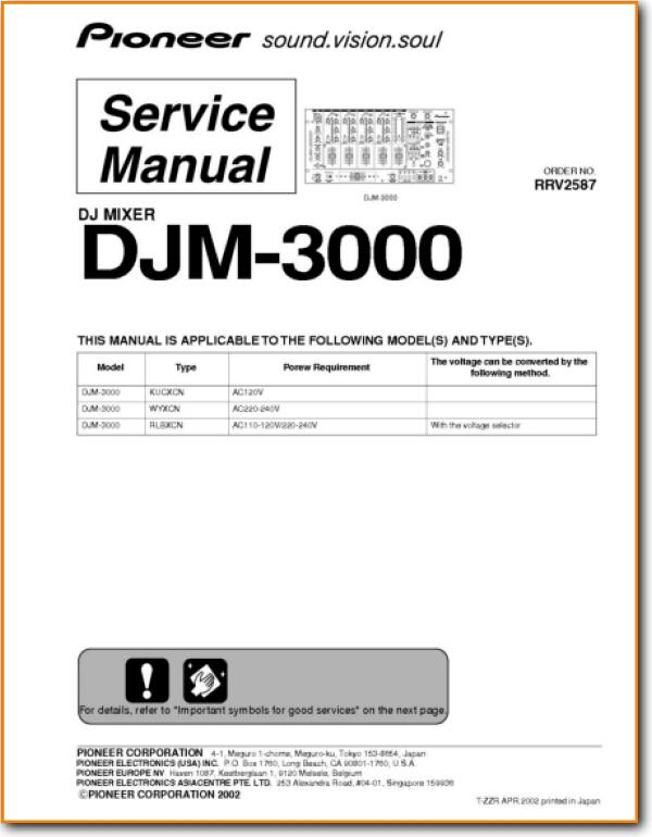 Pioneer DJM-3000 Amp Receiver Main Technical Manual - PDF & Tech Help* |  English