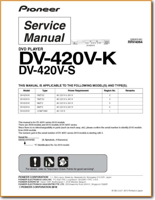 Pioneer DV-420-VK DVD Player Main Technical Manual - PDF & Tech Help* |  English