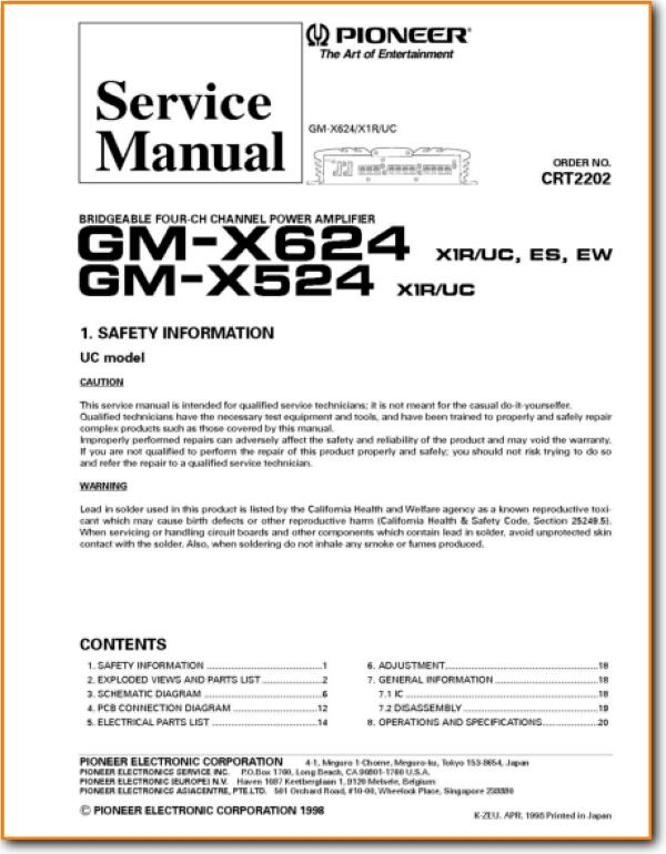 Pioneer GMX-524 Automotive Audio - On Demand PDF Download | English