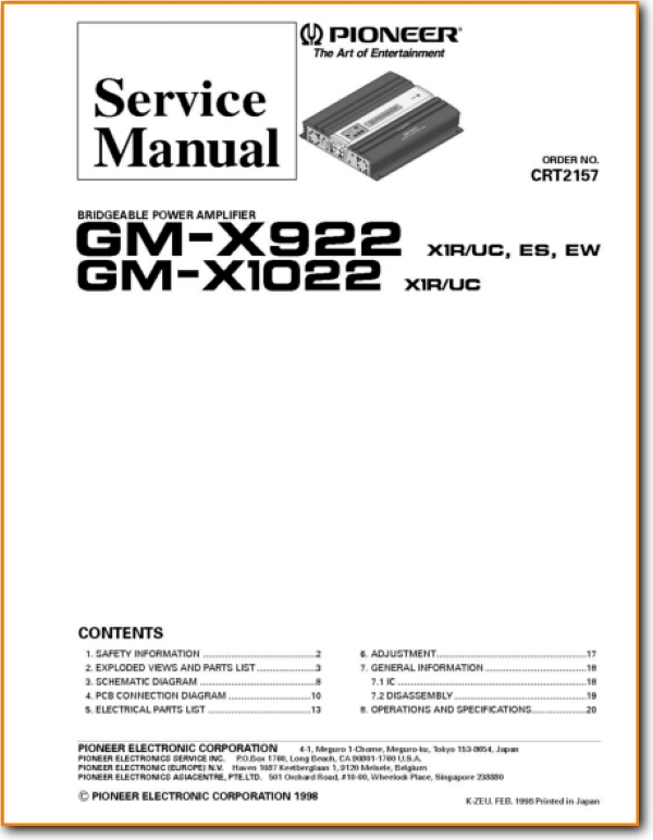 Pioneer GMX-922 Solid State Amp Receiver - On Demand PDF Download | English