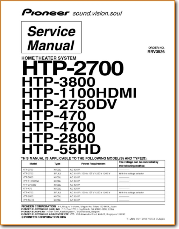 Pioneer HTP-1100-HDMI Home Cinema - On Demand PDF Download   English