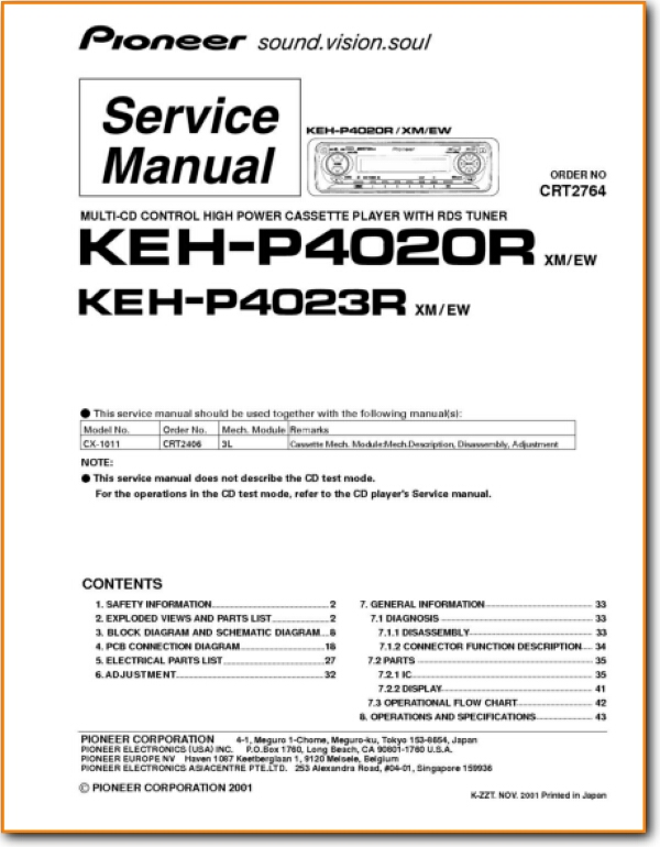 Pioneer KEHP-4023-R Automotive Audio Main Technical Manual - PDF & Tech  Help* | English