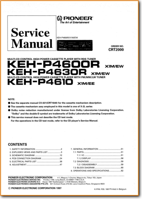 Pioneer KEHP-4600-R Automotive Audio Main Technical Manual - PDF & Tech  Help* | English