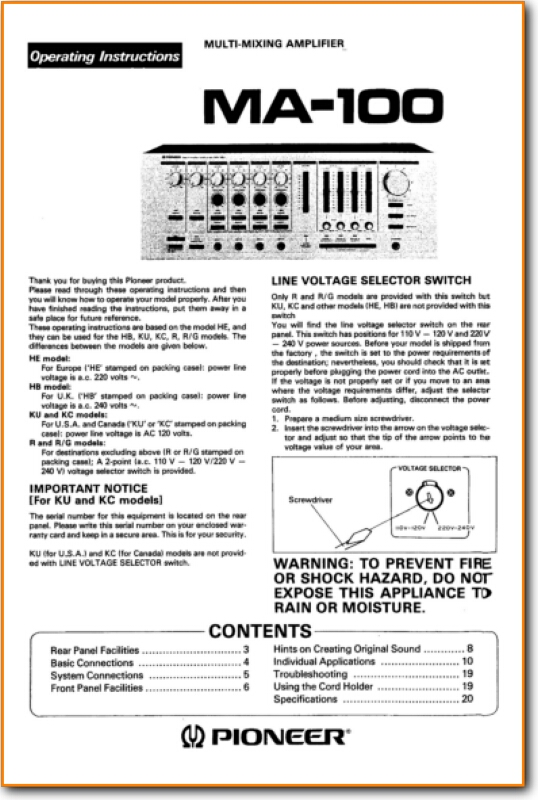 Pioneer MA-100 Amp Receiver Main Technical Manual - PDF & Tech Help* |  English