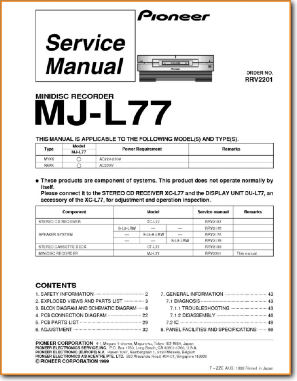 pioneer mjl 77 minidisc on demand pdf download english