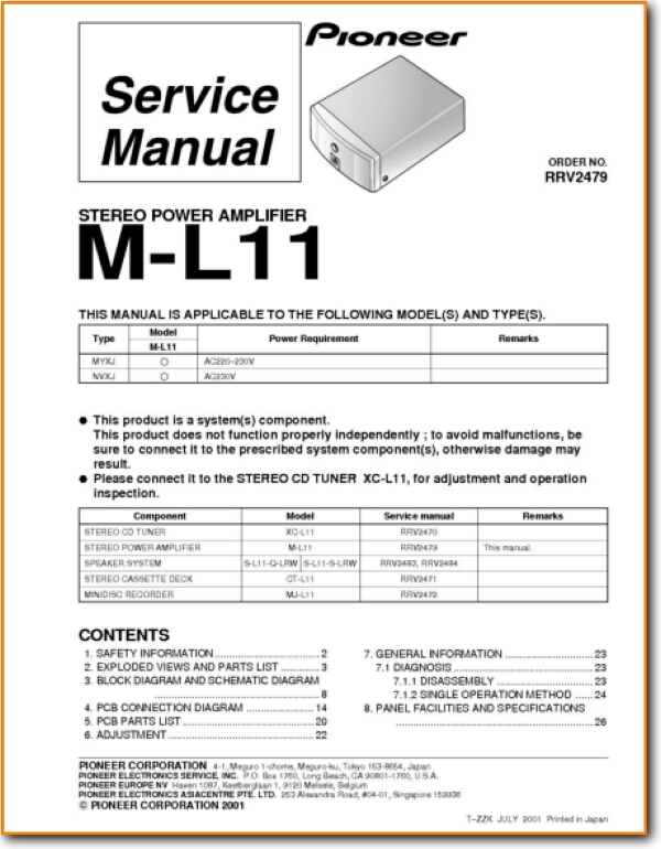 Pioneer ML-11 Solid State Amp Receiver - On Demand PDF Download | English