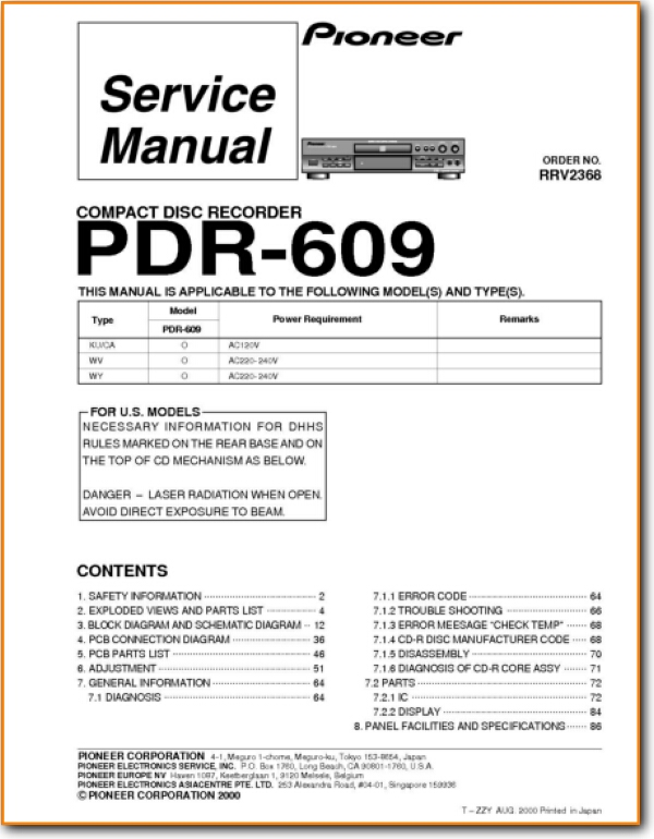 Pioneer PDR-609 CD Player - On Demand PDF Download | English