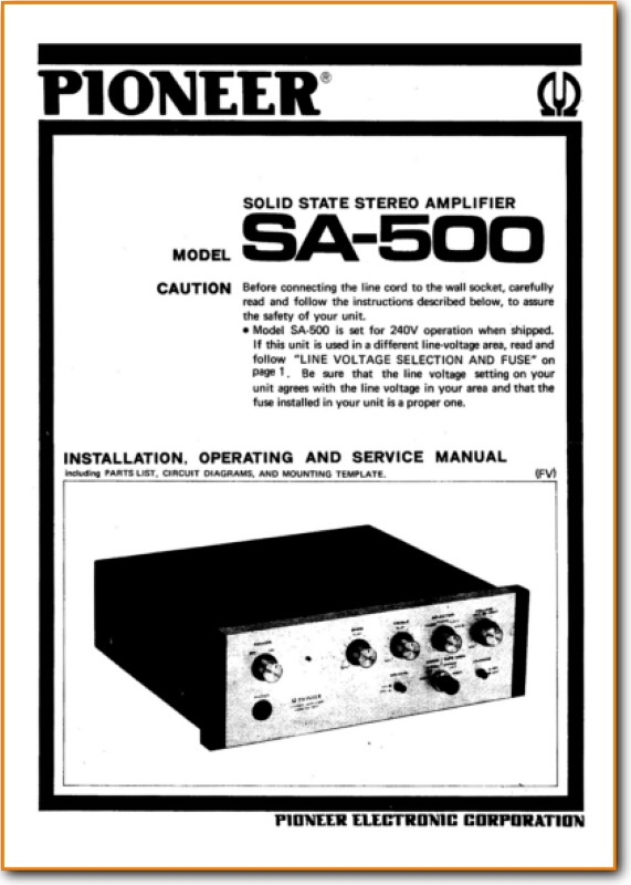 Pioneer SA-500 Solid State Amp Receiver - On Demand PDF Download   English